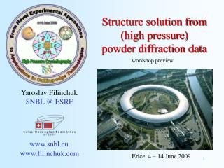 Structure solution from (high pressure) powder diffraction data