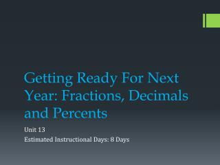 Getting Ready For Next Year: Fractions, Decimals and Percents