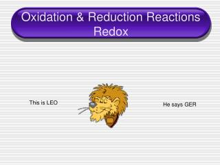 Oxidation & Reduction Reactions Redox