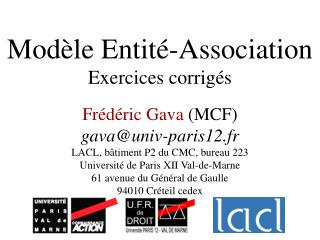 Modèle Entité-Association Exercices corrigés