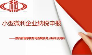 小型微利企业纳税申报 ——陕西省国家税务局直属税务分局培训资料