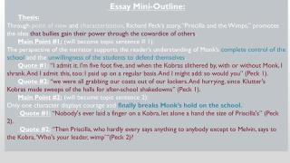 Essay Mini-Outline: Thesis: