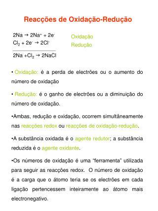 Reacções de Oxidação-Redução