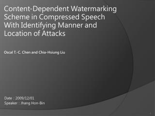 Oscal T.-C. Chen and Chia-Hsiung Liu
