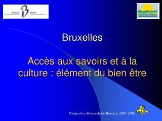 Bruxelles Accès aux savoirs et à la culture : élément du bien être