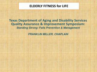 ELDERLY FITNESS for LIFE
