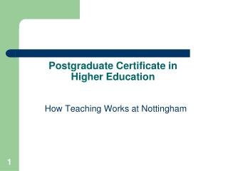 Postgraduate Certificate in Higher Education