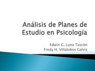 Análisis de Planes de Estudio en Psicología