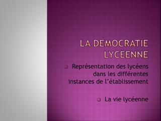 La démocratie lycéenne