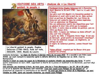 HISTOIRE DES ARTS : Analyse de «La liberté guidant le peuple»