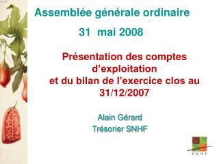 Présentation des comptes d'exploitation et du bilan de l'exercice clos au 31/12/2007