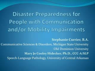 Disaster Preparedness for People with Communication and/or Mobility Impairments
