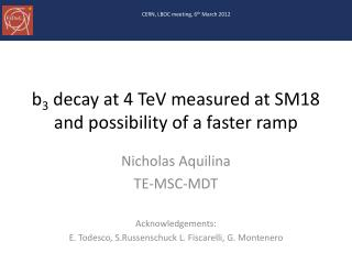b 3 decay at 4 TeV measured at SM18 and possibility of a faster ramp