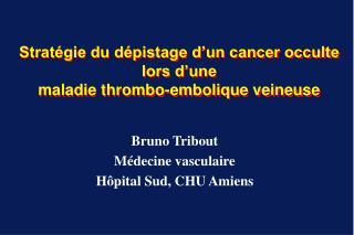 Stratégie du dépistage d'un cancer occulte lors d'une maladie thrombo-embolique veineuse