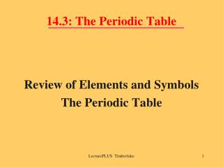 14.3: The Periodic Table