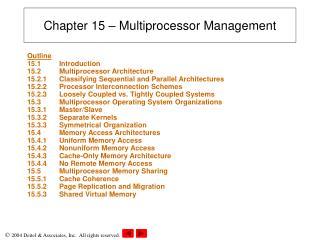 Chapter 15 – Multiprocessor Management