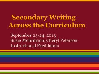 Secondary Writing Across the Curriculum