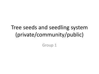 Tree seeds and seedling system (private/community/public)