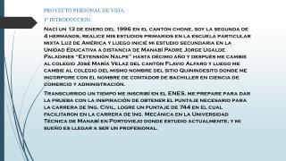 PROYECTO PERSONAL DE VIDA 1º INTRODUCCION
