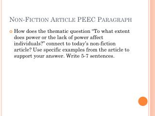 Non-Fiction Article PEEC Paragraph