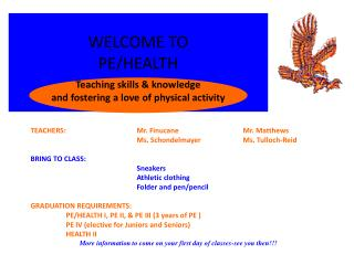 WELCOME TO PE/HEALTH