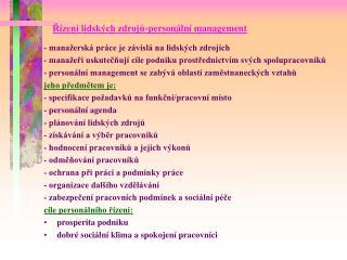 Řízení lidských zdrojů-personální management
