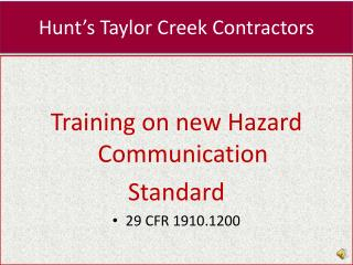 Hunt's Taylor Creek Contractors