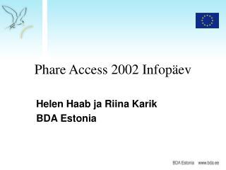 Phare Access 2002 Infopäev