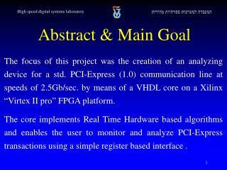 Abstract & Main Goal