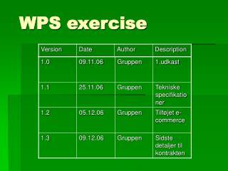 WPS exercise