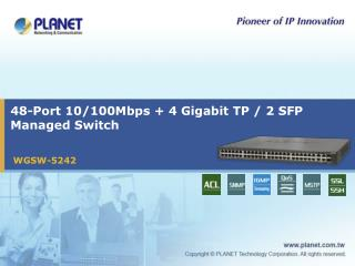48-Port 10/100Mbps + 4 Gigabit TP / 2 SFP Managed Switch