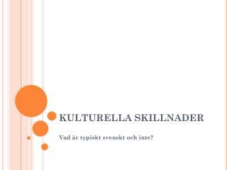 KULTURELLA SKILLNADER