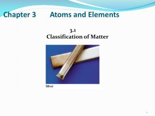Chapter 3	Atoms and Elements