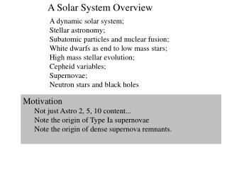 A Solar System Overview