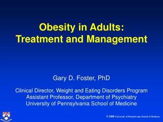 Obesity in Adults: Treatment and Management