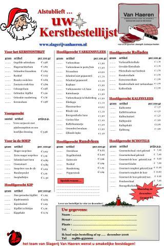 Kerstbestellijst slagerijvanhaeren.nl