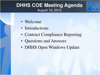 DHHS COE Meeting Agenda August 19, 2010