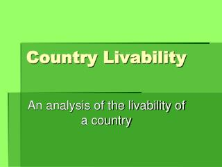 Country Livability