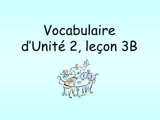 Vocabulaire d'Unité 2, leçon 3B