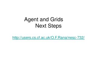 Agent and Grids	 Next Steps users.cs.cf.ac.uk/O.F.Rana/nesc-732/
