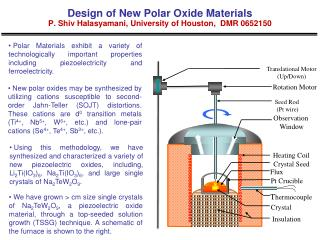 Design of New Polar Oxide Materials P. Shiv Halasyamani, University of Houston, DMR 0652150