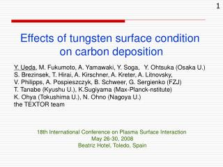Effects of tungsten surface condition on carbon deposition