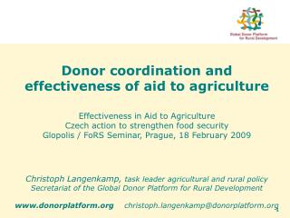 Donor coordination and effectiveness of aid to agriculture