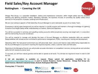 Field Sales/Key Account Manager Nottingham - Covering the UK