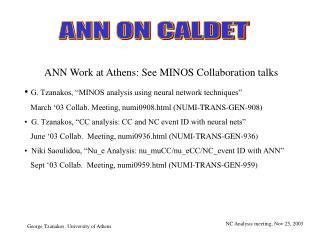 ANN ON CALDET
