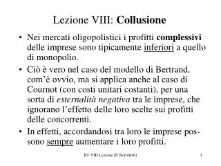 Lezione VIII: Collusione