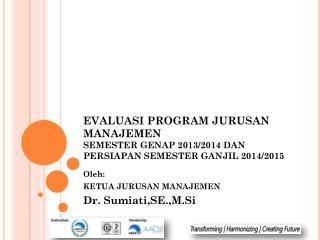 Oleh: KETUA JURUSAN MANAJEMEN Dr. Sumiati,SE.,M.Si