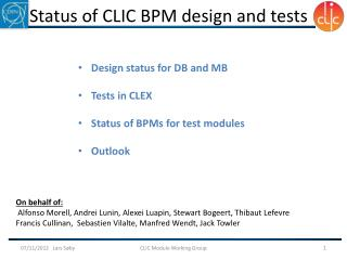 Status of CLIC BPM design and tests