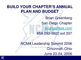 BUILD YOUR CHAPTER'S ANNUAL PLAN AND BUDGET