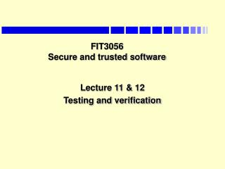 FIT3056  Secure and trusted software
